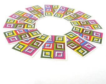 Retro Art Deco Playing Cards, Geometric Trading Cards, Vintage Cards, Retro Cards, Rainbow Playing Cards (12 pcs.)