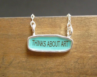 Art Lovers Necklace - Reversible Sterling Silver and Enamel Script Necklace