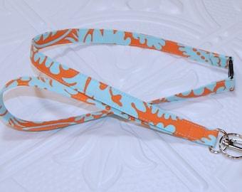 Blue And Orange Breakaway Safety Lanyard - Badge Holder - Key Lanyard - Teachers Gifts - Cute Key Chain - Lanyard With Id Holder - Id Holder
