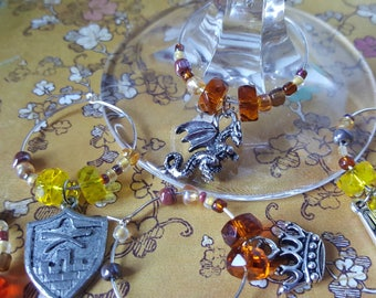 Game of THRONES inspired THEMED SET - Wine Charms or Drink Tags