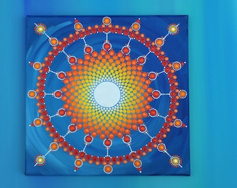 War drum-Mandala on hand painted canvas, original point-art painting acrylic paint