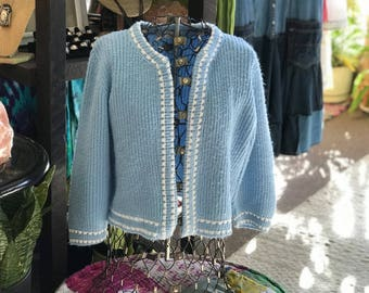 Spring Summer Sweater, Vintage Jumper, Blue Cardigan, Jane Adams Original