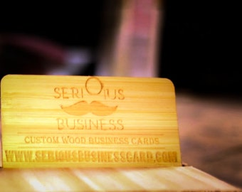 Custom Engraved Wood Business Cards (Bamboo)