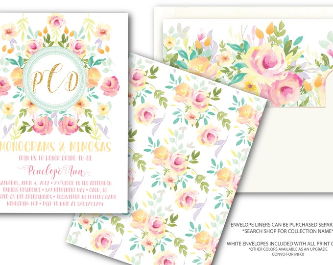 Pink Yellow Gold Monograms & Mimosas Invitation Gold Glitter Mint Peach Bridal Shower Invitations Watercolor Floral Invite / OAHU COLLECTION