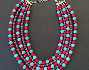 """Red Coral and Turquoise Multistrand Necklace 20"""""""