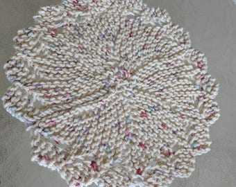 Round Knit Dishcloth Washcloth Doily  - Best ever - Cream color with Specks of Pink and Blue