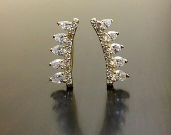 18K Yellow Gold Pear Shape Diamond Earrings - Art Deco 18K Gold Diamond Earrings - Pear Shape Earrings - 18K Gold Diamond Cuff Earrings