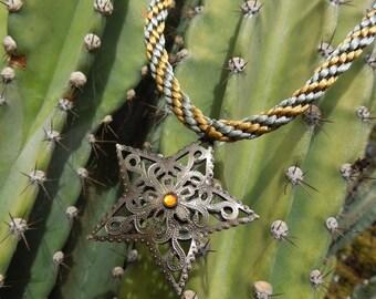 Kumihimo necklace metal star