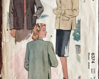 Vintage McCall 1940's Boxy Shirt Jacket Pattern # 6374 - 4 Versions - Lapel Collar or Jewel Neck, Pocket Variataions - Size 14, Bust 32