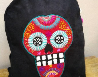 Mexican skull suede backpack Hand embroidered Chiapas
