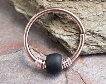 Black 16g 18g 20g Rose Gold Hoop Beaded Hoop Earring Nose Hoop Helix Cartilage Hoop Tragus Hoop