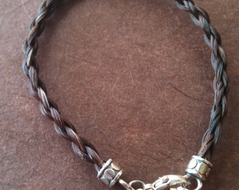 """Dark Red Horsehair Bracelet with """"Dot"""" Sterling Silver Ends & Horseshoe Charm"""