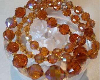 50s vintage necklace Orange vintage necklace Aurora Borealis C1950's beaded Necklace STUNNING rainbow oil on water colours