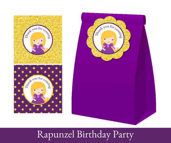 Rapunzel Thank You Tags Rapunzel Party Loot Bag Label