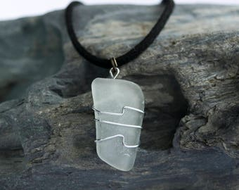 Handmade Cornish Sea Glass Wire Wrapped Pendant Small Necklace Organic Jewellery Eco Fashion Sustainable Reclaimed Boho Wedding Accessories