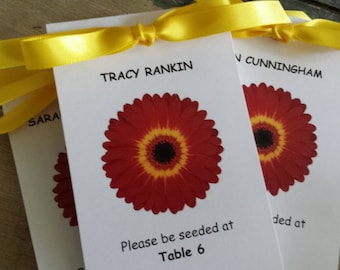 Please Be Seeded Seating Place Cards Escort Cards Gerber Daisy Red and Yellow Design with Wildflower Seeds inside Perfect for Wedding