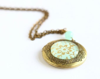 Mint Green and Gold Brass Locket For Woman