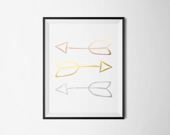 Arrows Print- Rose Gold, Gold, Silver Foil Print- REAL FOIL