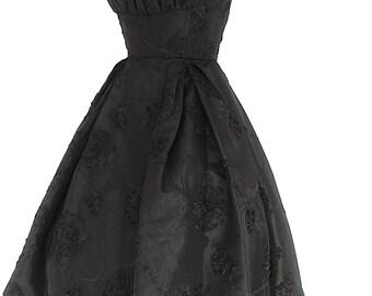 "30"" Waist Stunning Black Taffeta Dress with Surface Ribbon Flower Design"