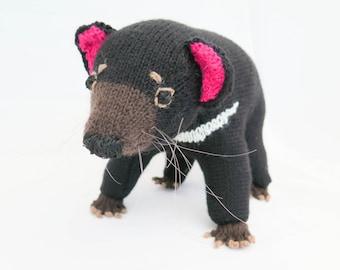 KNITTING PATTERN, Tasmanian Devil Knitting Pattern, Toy Knitting Pattern, Tassie Devil , Wildlife Toy, Knitted Softies Pattern, Knit Animal