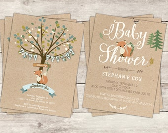 Baby Shower Invite, download printable, foxes, craft paper, baby