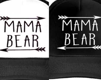 MAMA bear arrow Letters Print Baseball Cap Trucker Hat For Women. Adjustable Size comes in all black or white and black Mothers Day gift