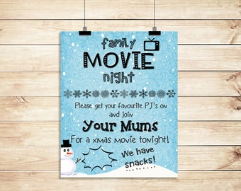 Family Christmas Snowy Movie Night From Lesbian Mums Poster PRINTABLE A3