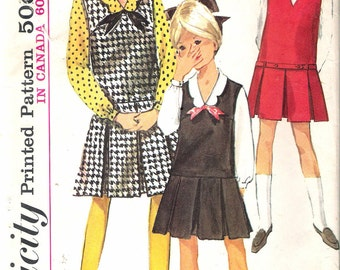 """Vintage 1965 Simplicity 6149 Girls' One-Piece Jumper & Blouse Sewing Pattern Size 14 Breast 32"""""""