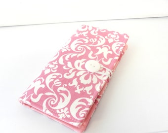 12 Slot Loyalty Card Organizer Holder,  Business Card,Gift Card Wallet -  Pink and White Damask