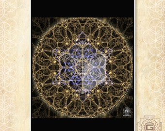 Grand Visage - art print,sacred geometry,metatron,cube,hippy,trippy,psy,festival,sacred,visionary,print,cool