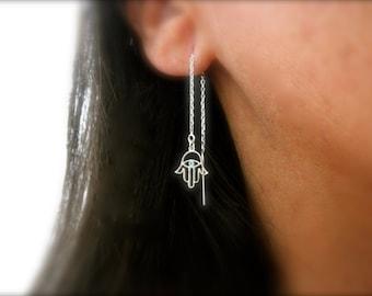 Boucles d'oreilles de l'enfile-aiguille la main Hamsa - hamsa à la main - 925 argent sterling oreille enfile-aiguille - filigrane hamsa main Boucles d'oreilles en émail