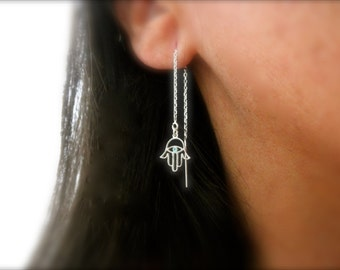Hamsa hand threader earrings - enamel hamsa hand earrings - 925 solid sterling silver ear threader - filigree hamsa hand earrings