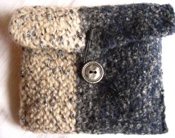 Mini bag clutch bag knit + felting Lurex wool blue anthracite beige-mix metal button leather cord woolen bag
