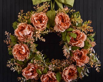 French Country Peony Front Door Wreath
