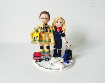 Firefighter & Airhostess / Flight attendant wedding cake topper- Custom made bride and groom wedding cake topper