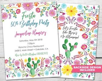 Fiesta Adult Birthday Invitation, Fiesta Birthday Invitation, Fiesta Birthday Party Invitation, Fiesta 50 Birthday, Fiesta Printable Invite