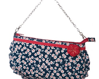 SHIBUYA HANA Blue Shoulder Bag Japanese fabric