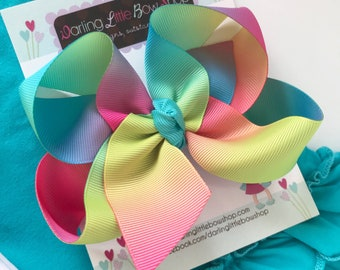 "Rainbow Bow, rainbow hairbow in ombre rainbow colors choose 4-5"" or 6-7"""