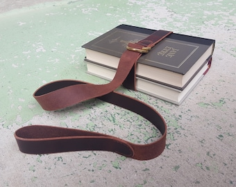 Scholar Leather Book Belt with Brass Hardware