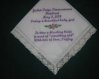 Baptismal handkerchief for a baby girl. baby naming hankie, something old for wedding day,160S