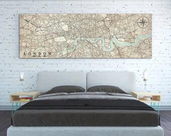 LONDON UK Canvas print United Kingdom London Great Britain Uk Gb Vintage City Horizontal Wall Art Vintage Panoramic Large poster antique map