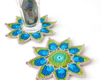 Crochet Coaster PATTERN Peacock Feather Petals - Original Design by TheCurioCraftsRoom - Suitable for BEGINNERS