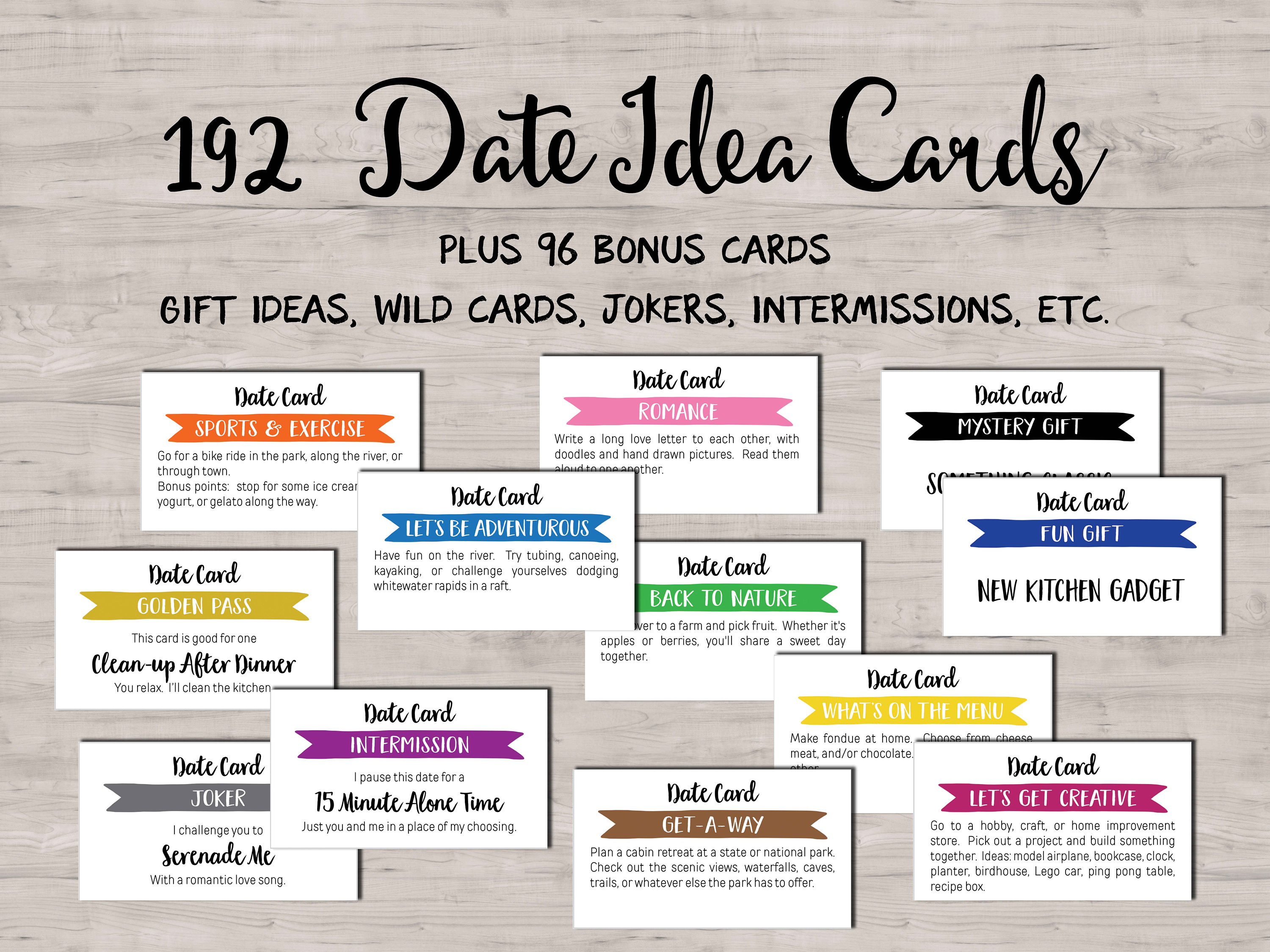 192 Date Night Idea cards. Instant download printable. Unique