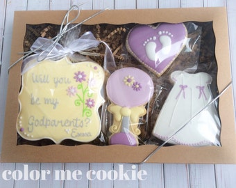 Will You Be My Godmother Godfather Godparent SUGAR COOKIE Gift Box Set of 4