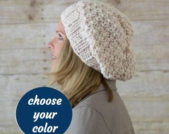 Chunky Slouchy Beanie, Knit Slouchy Hat, Wool Slouchy Hat, THE SEED STITCH, Choose Your Color - Ready to Ship