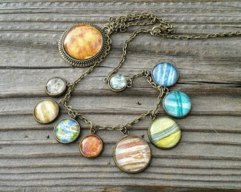 Solar System Necklace.  Hand-Painted watercolor planets necklace, includes Pluto! Miniature paintings under glass in antiqued bronze