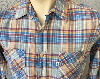 Levis Western 1980s vintage long sleeve plaid shirt - size large