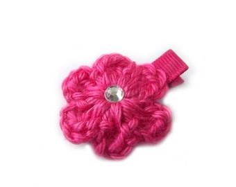 Hot Pink Hair Clip Crochet Flower Hair Clip Bright Pink Hair Clip Electric Pink Baby Girl Hair Clip Baby Clip Baby Hair Clip Spring Summer