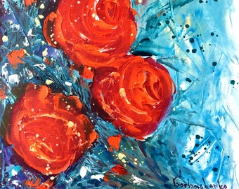 Red Rose, Original Rose Painting by Tetiana