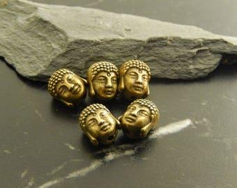 Set of 5 Bronze Buddha head beads